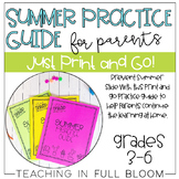 Summer Practice Guide for Parents | Print and Go Summer Packet for Grades 3-6