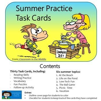 Summer Practice Task Cards