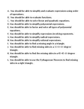 Summer Pre-Calculus Assignment