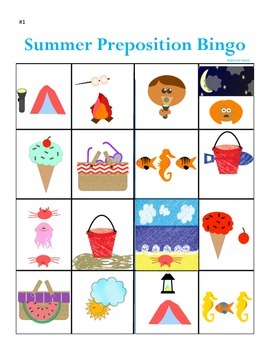Summer Preposition Bingo