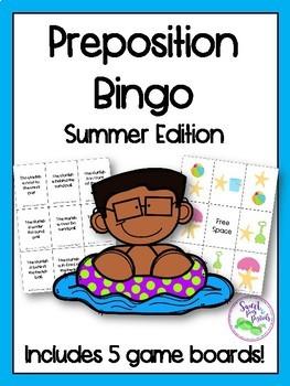 Summer Preposition Bingo