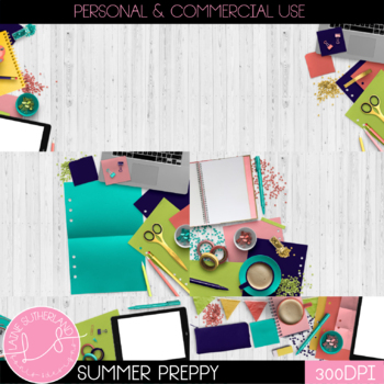 Summer Preppy Styled Mockups {Desk Scenes}