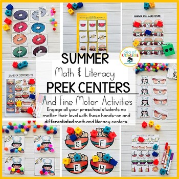 Summer Preschool Math and Literacy Centers and Fine Motor Activities Age 3+