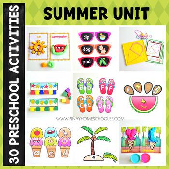 Summer Preschool Unit - Math and Literacy Centers