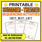 Summer Printable Sequencing Activity for 1st Grade, Kindergarten and 2nd Gr