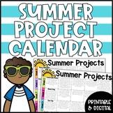 Summer Project Calendar | Summer Packet | Summer PBL Activities