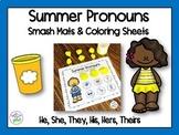 Summer Pronouns Smash Mats & Coloring Sheets