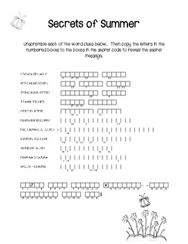 Summer Puzzle Fun--End of the Year Time Fillers