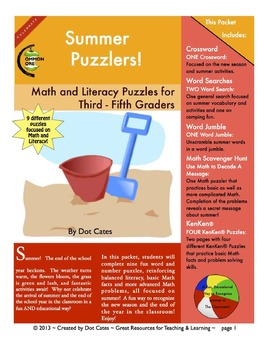 Summer Puzzlers!  9 Literacy & Common Core Aligned Math Puzzles: Gr. 3 - 5
