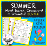 Summer Puzzles (BUNDLE!) Word Search, Crossword Puzzle & Word Scramble!