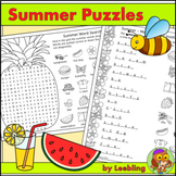 Summer Puzzles - Fun End of Year Activities, Crossword, Wo