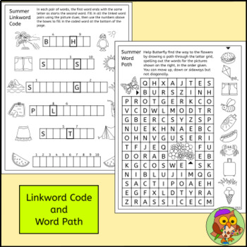 Summer Puzzles, Harder Version – End of Year Activities, Crossword, Word Search