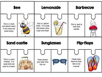 Summer Puzzles (basic vocabulary practice)