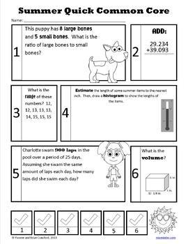 Summer Review No Prep Common Core Math (6th grade)