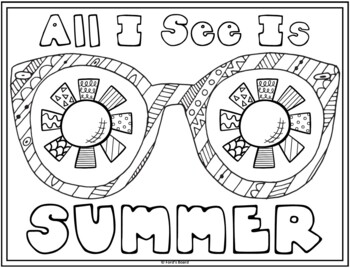 Distance Learning | Summer Coloring Pages |  20 Fun, Creative Designs