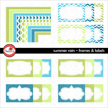 Summer Rain Frames and Labels Digital Borders Clipart by P