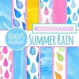 Summer Rain Handpainted Watercolour Background / Digital Papers Clip Art