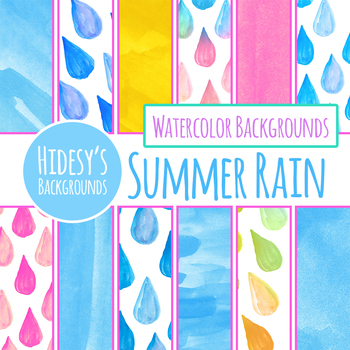 Summer Rain Handpainted Watercolour Background / Digital Papers Clip Art