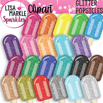 Summer Rainbow Glitter Popsicle Clipart
