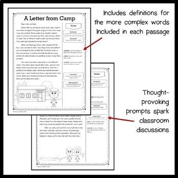 Summer Review Close Reading Passages - Stories and Writing Activities