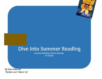 Summer Reading Activities Calendar