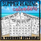 Summer Reading Activities Calendar, no prep