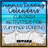 Summer Reading Activities Calendar, no prep