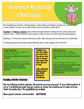 Summer Reading Activity Calendar1