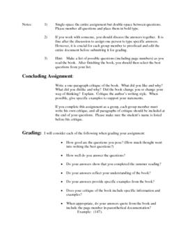 Summer Reading Assignment