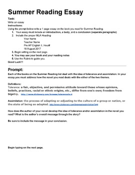 Proposal Essay Topics List Summer Reading Assignment Bundle With Essay Prompt Examples Of A Thesis Statement For An Essay also Narrative Essay Sample Papers Summer Reading Assignment Bundle With Essay Prompt  Tpt Essay On Science