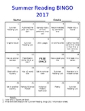 Summer Reading Bingo 2017