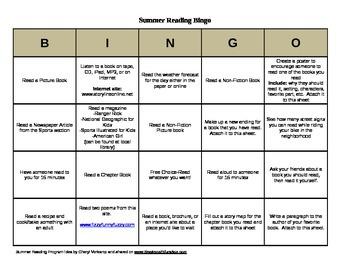 Summer Reading Bingo Board
