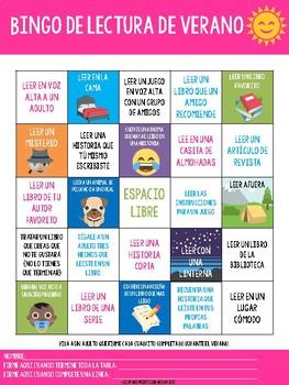 Summer Reading Bingo English/Spanish
