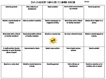 Summer Reading Bingo - Faculty and Staff Edition!