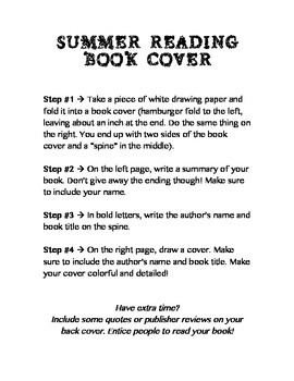 Summer Reading Book Cover Activity