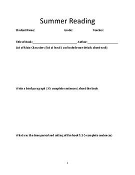 Summer Reading Book Report