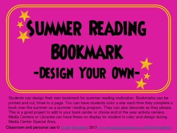 Summer Reading Bookmark--Design your own