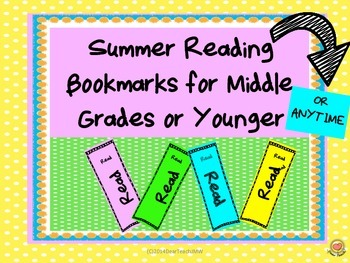 Summer Reading Bookmarks or Anytime