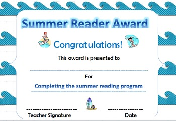 Summer Reading Bundle with Surf and/or Safari Theme