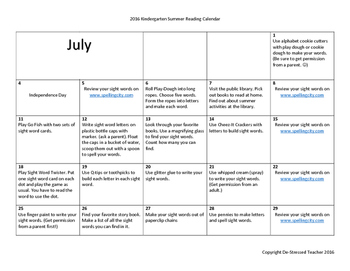 Summer Reading Calendar-Kindergarten