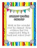 Summer Reading Calendar for Second Grade