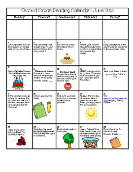 Summer Reading Calendar for Second Grade
