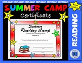 Summer Reading Camp Certificate - Editable