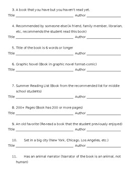 Summer Reading Challenge Bingo