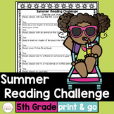 Summer Reading Challenge for fifth grade with book list