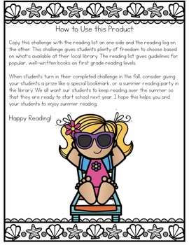 Summer Reading Challenge For First Grade With Book List By Library
