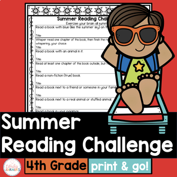 Summer Reading List For And By Teachers >> Summer Reading Challenge For Fourth Grade With Book List Tpt