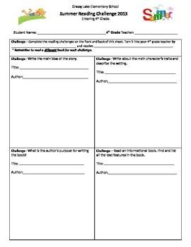 Summer Reading Challenge- students entering grades 1-5
