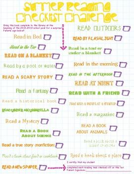 Summer Reading Checklist Challenge