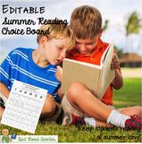 Summer Reading Choice Board FREEBIE